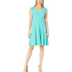London Times Turquoise Shirred Shoulder Fit And Flare - Thumbnail