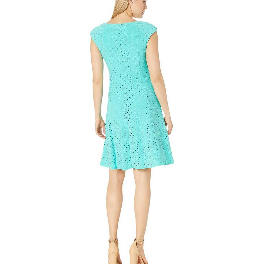 London Times Turquoise Shirred Shoulder Fit And Flare