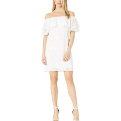London Times White Off The Shoulder Ruffle Shift Dress - Thumbnail