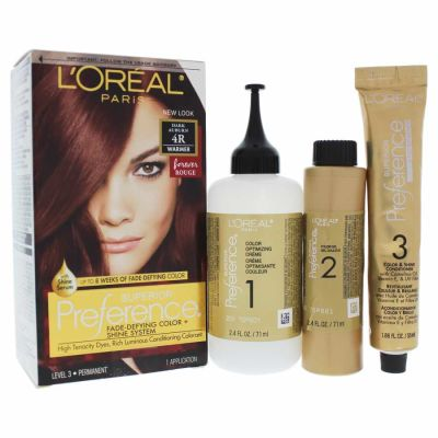 LOreal - LOreal Superior Preference Fade-Defying Color - 4R Dark Auburn - Warmer 1 Application