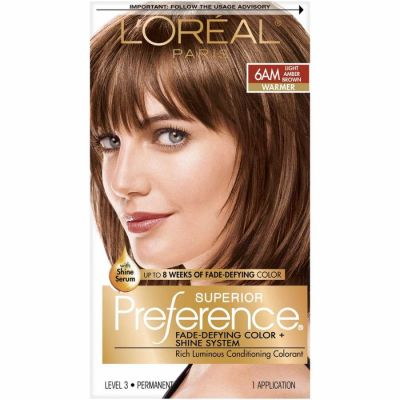 LOreal - LOreal Superior Preference Fade-Defying Color 6AM Light Amber Brown - Warmer 1 Application