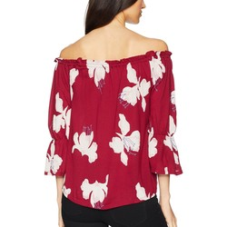 Lucky Brand Berry Red Floral Print Off Shoulder Top - Thumbnail