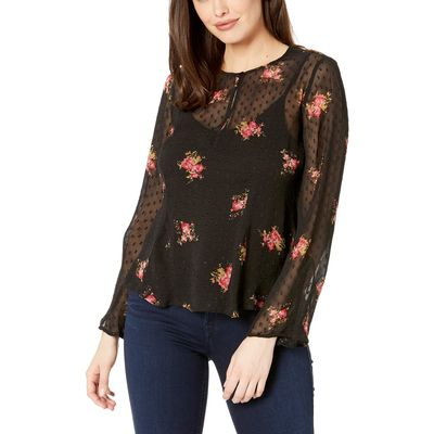 Lucky Brand - Lucky Brand Black Multi Clip Dot Printed Top
