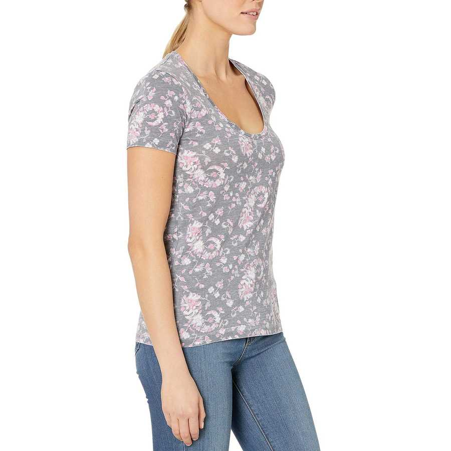 Lucky Brand Black Multi Floral Burnout Tee