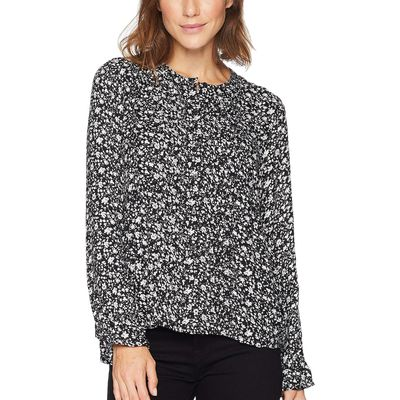 Lucky Brand - Lucky Brand Black Multi Parisian Ditsy Top