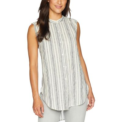 Lucky Brand - Lucky Brand Black Multi Stripe Tunic Top