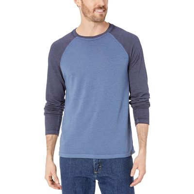 Lucky Brand - Lucky Brand Blue Color Block Micro Terry Tee
