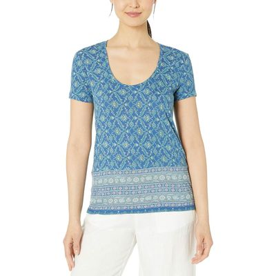 Lucky Brand - Lucky Brand Blue Multi Floral Print Tee
