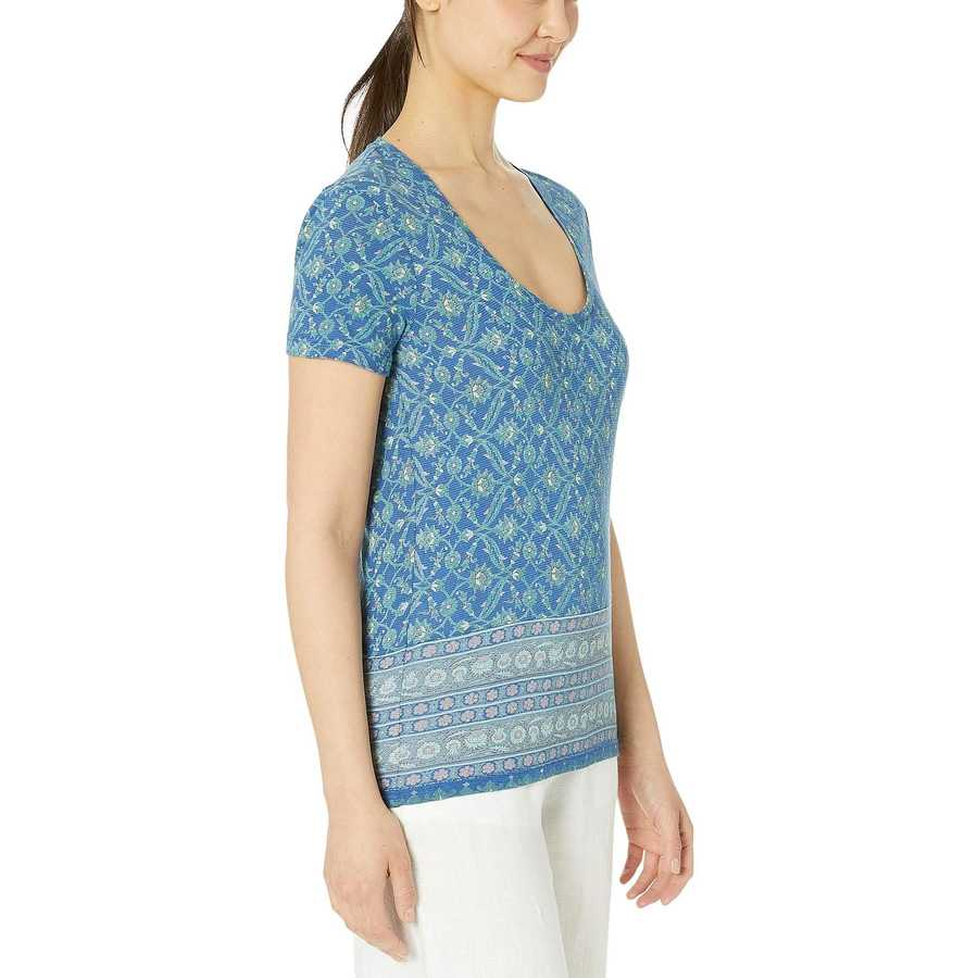 Lucky Brand Blue Multi Floral Print Tee