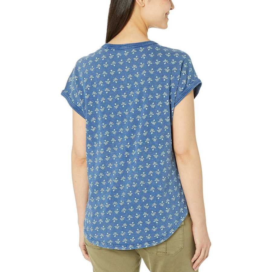 Lucky Brand Blue Multi Printed Notch Neck Top