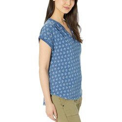 Lucky Brand Blue Multi Printed Notch Neck Top - Thumbnail