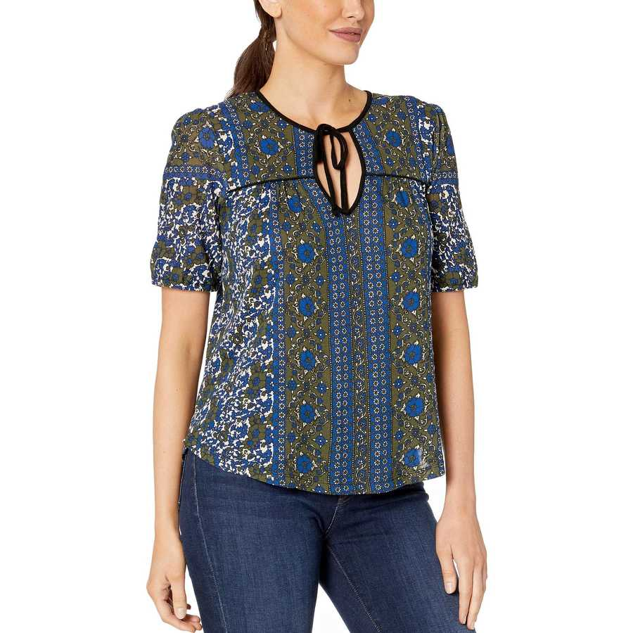 Lucky Brand Blue Multi Printed Short Sleeve Peasant Top