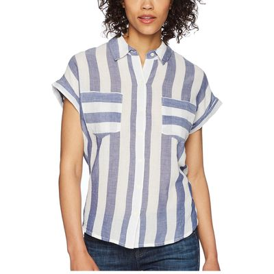 Lucky Brand - Lucky Brand Blue Multi Stripe Tie Back Shirt