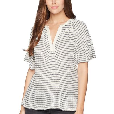 Lucky Brand - Lucky Brand Blue Stripe Stripe Drop Needle Cut Out Top