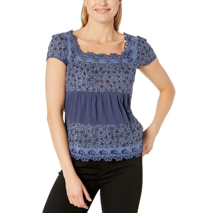 Lucky Brand Blue Tiered Cap Sleeve Top