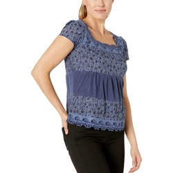 Lucky Brand Blue Tiered Cap Sleeve Top - Thumbnail