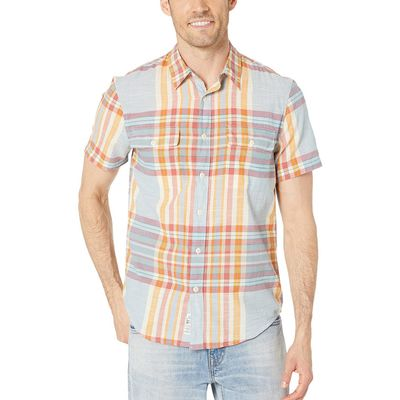 Lucky Brand - Lucky Brand Blue/Orange Short Sleeve Madras Plaid Shirt