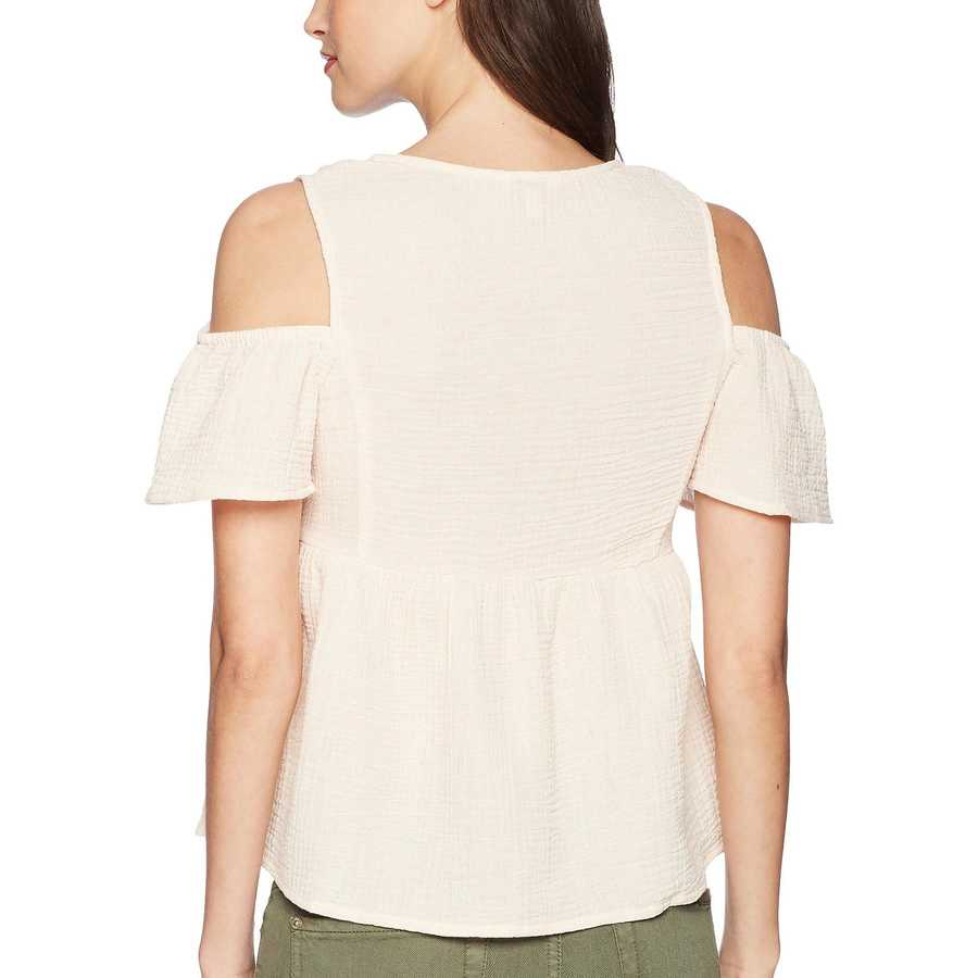 Lucky Brand Blush Cold Shoulder Gauze Top
