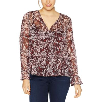 Lucky Brand - Lucky Brand Burgundy Multi Printed Top