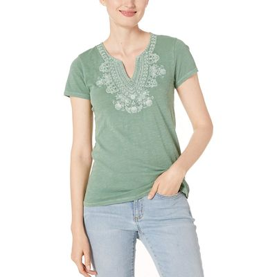 Lucky Brand - Lucky Brand Comfrey Short Sleeve Embroidered V-Neck Tee