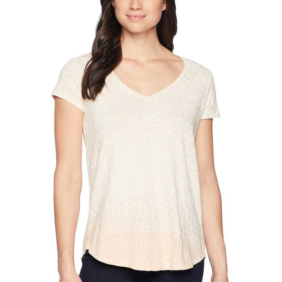 Lucky Brand Coral Multi Ombre Tile Print Tee