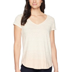 Lucky Brand Coral Multi Ombre Tile Print Tee - Thumbnail