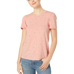 Lucky Brand Coral Multi Scoop Neck Floral Tee - Thumbnail