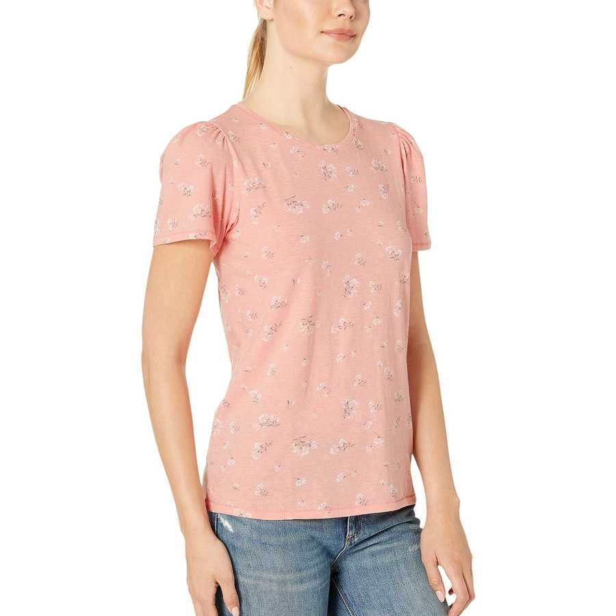 Lucky Brand Coral Multi Scoop Neck Floral Tee
