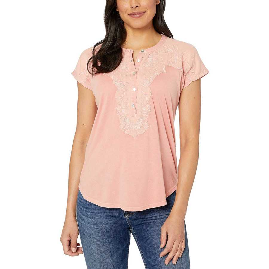 Lucky Brand Coral Washed Applique Henley Top