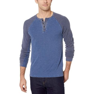 Lucky Brand - Lucky Brand Estate Blue Body/Navy Sleeve Burnout Thermal Color Block Tee