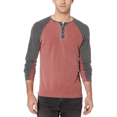 Lucky Brand - Lucky Brand Fired Brick Body/Jet Black Sleeve Burnout Thermal Color Block Tee