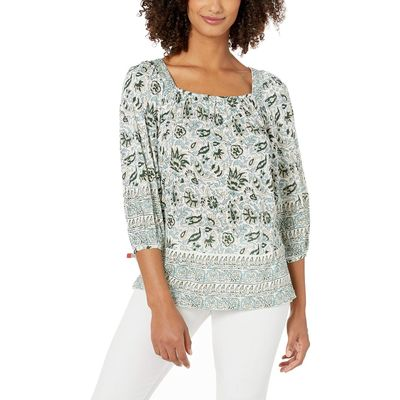 Lucky Brand - Lucky Brand Green Multi Border Print Peasant Top