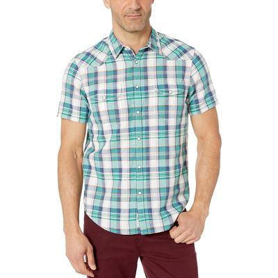 Lucky Brand - Lucky Brand Green Plaid Short Sleeve Madras Plaid Shirt
