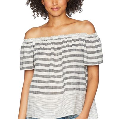 Lucky Brand - Lucky Brand Grey Multi Stripe Off Shoulder Top