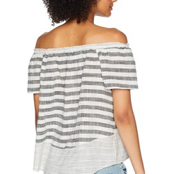 Lucky Brand Grey Multi Stripe Off Shoulder Top - Thumbnail