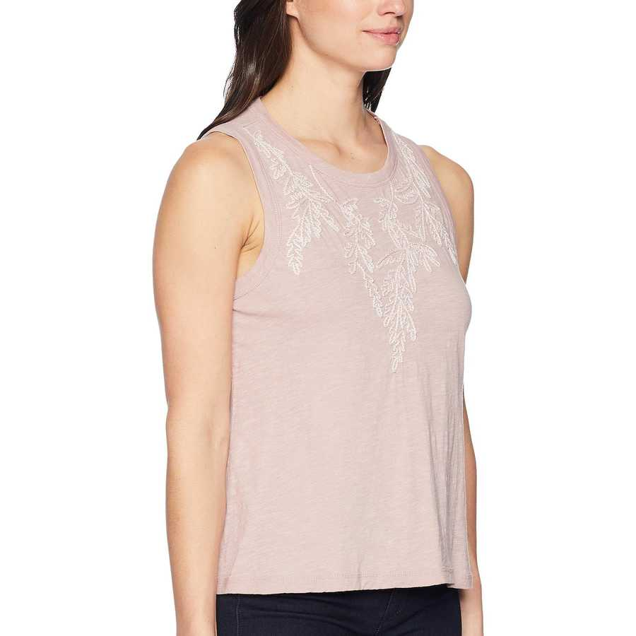 Lucky Brand Keepsake Lilac Embroidered Leaf Tank Top