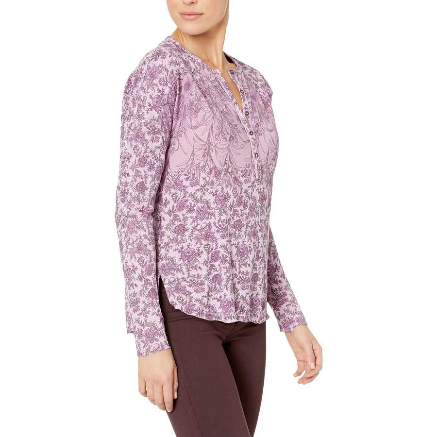 Lucky Brand Lavendar Multi Washed Western Henley Top