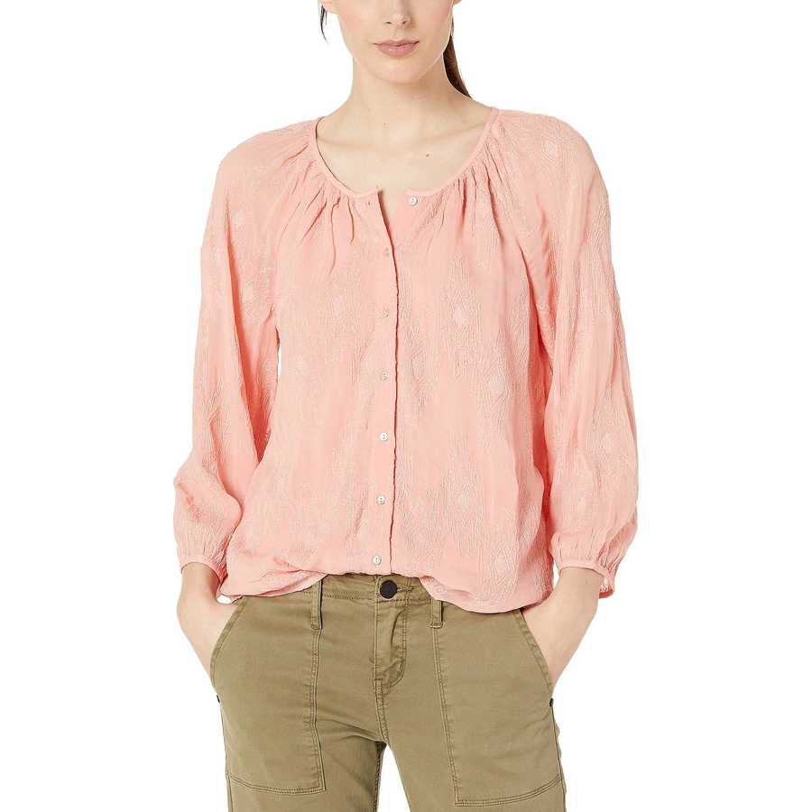 Lucky Brand Lobster Bisque Embroidered Button Peasant Top