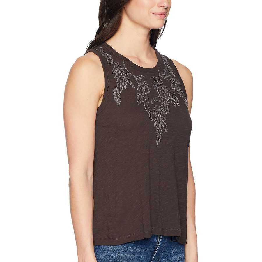 Lucky Brand Lucky Black Embroidered Leaf Tank Top
