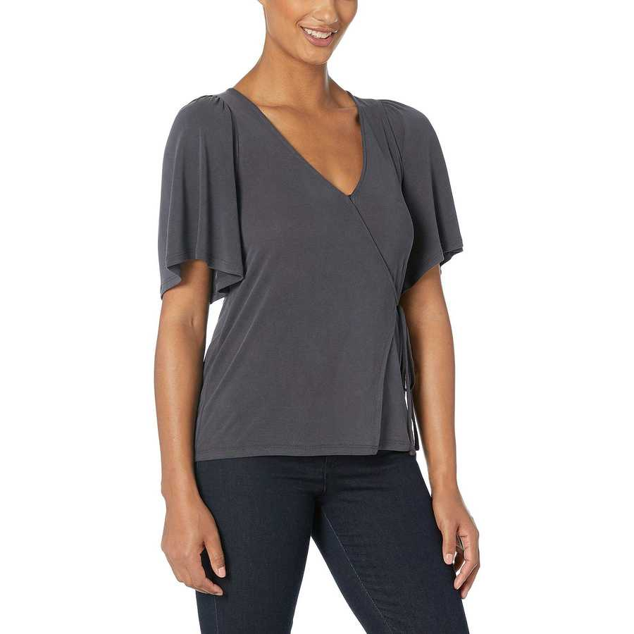 Lucky Brand Lucky Black Solid Wrap Top