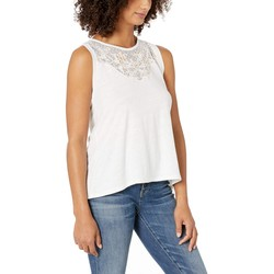 Lucky Brand Lucky White Applique Yoke Tank Top - Thumbnail