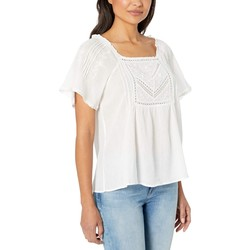 Lucky Brand Lucky White Embroidered Flutter Sleeve Top - Thumbnail