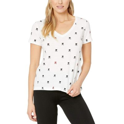 Lucky Brand - Lucky Brand Lucky White Foil Hearts Crossed Tee
