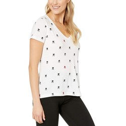 Lucky Brand Lucky White Foil Hearts Crossed Tee - Thumbnail