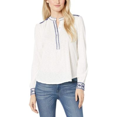 Lucky Brand - Lucky Brand Marshmallow Embroidered Henley Top