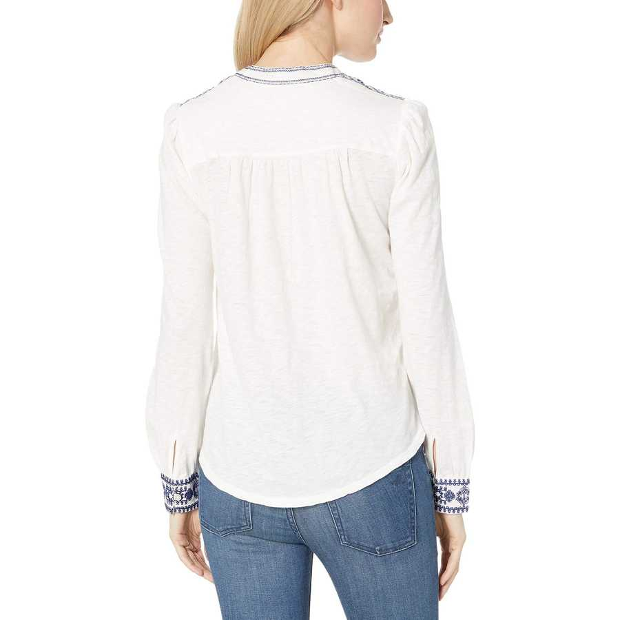 Lucky Brand Marshmallow Embroidered Henley Top