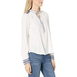 Lucky Brand Marshmallow Embroidered Henley Top - Thumbnail