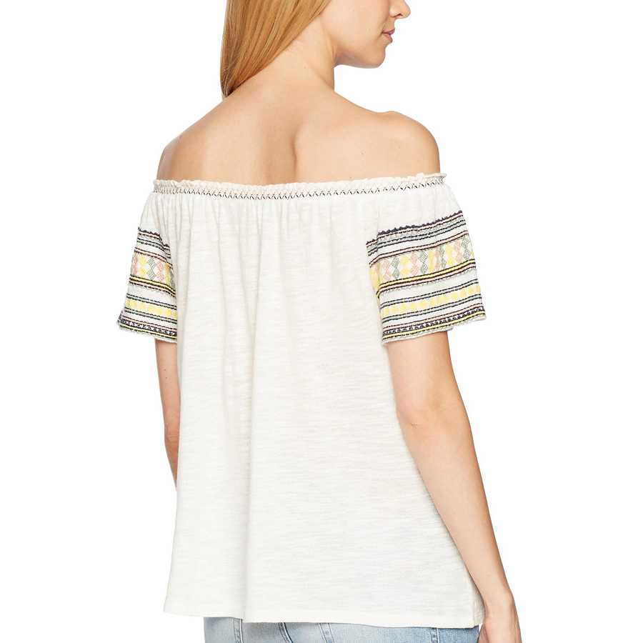 Lucky Brand Marshmallow Embroidered Off The Shoulder Top