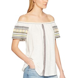 Lucky Brand Marshmallow Embroidered Off The Shoulder Top - Thumbnail