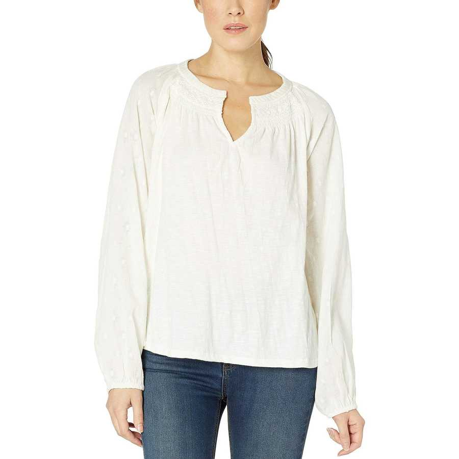 Lucky Brand Marshmallow Embroidered Peasant Top